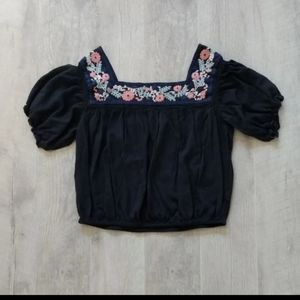 American Eagle Outfitters Tops - American Eagle Navy Peasant Floral Boho Top XL